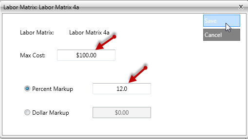 Pricing Matrixes List Settings